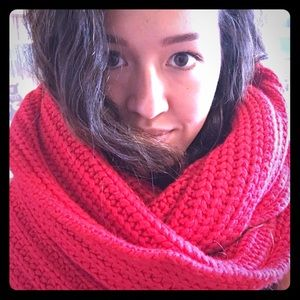 J. Crew wool red chunky knit scarf never worn!